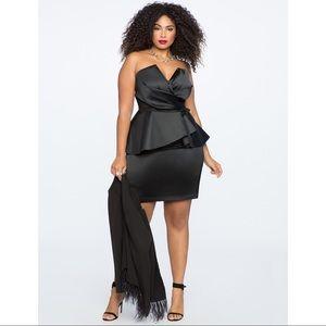 Eloquii Draped Bodice Strapless Peplum Dress Black